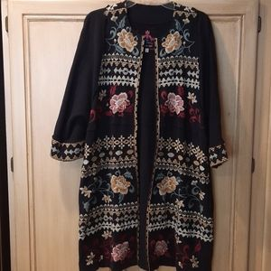 Johnny Was black floral embroidered cardigan jacke